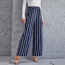 High Waist Striped Wide Leg Pants