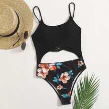 Einteiliger Badeanzug mit Blumen Muster und Ausschnitt