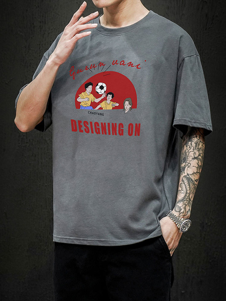 Milanoo T-shirts Loose-fitting Round Neck T-shirt With Short Sleeves And Cartoon Front Print Mens Shirt