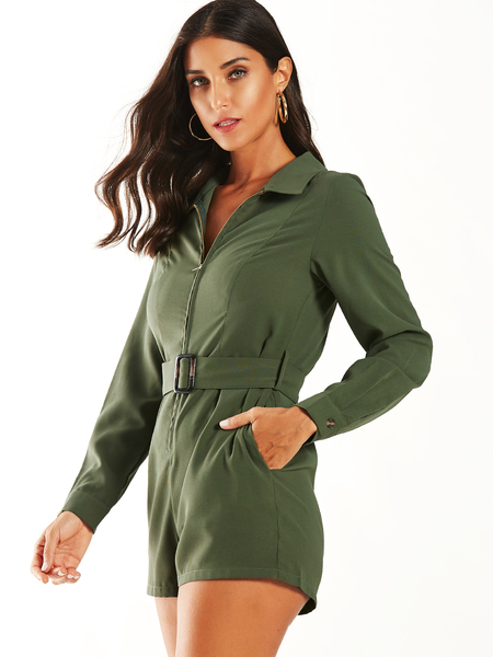 YOINS Army Green Belt Design Lapel Collar Long Sleeves Playsuit