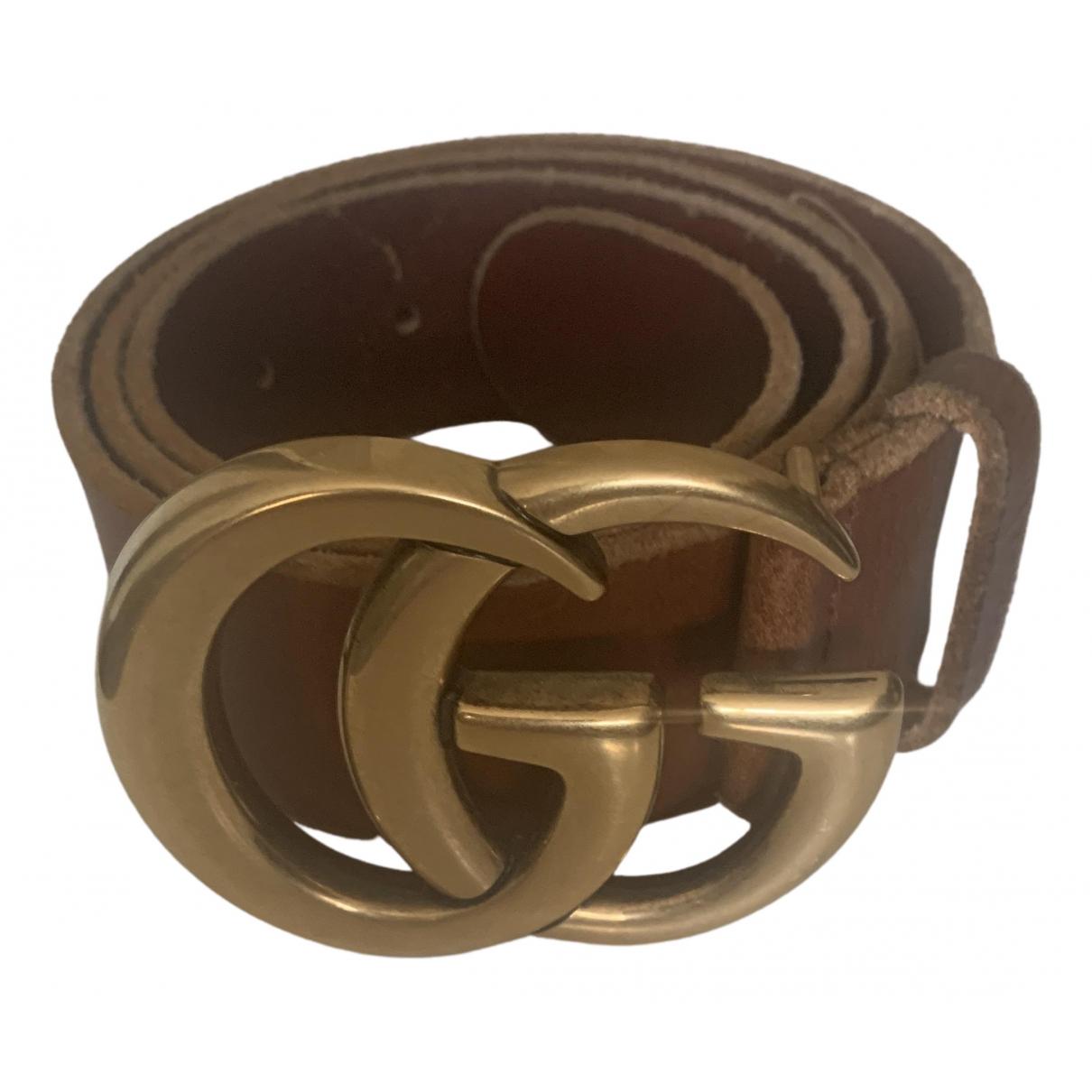 Gucci - Ceinture GG Buckle pour femme en cuir - marron