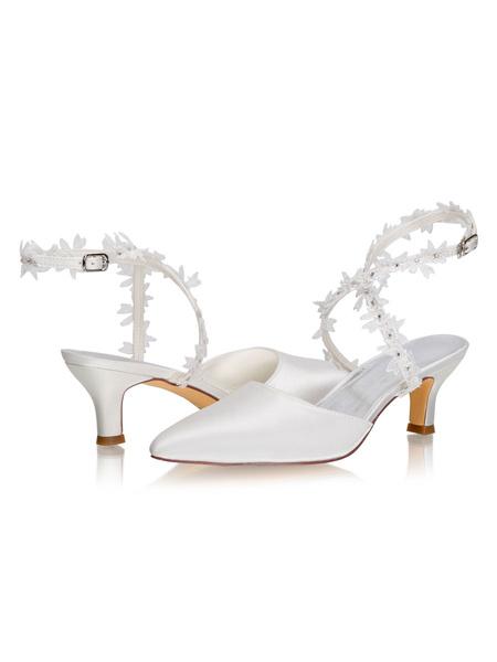 Milanoo Elegant Wedding Shoes Satin Ivory Pointed Toe Flowers Kitten Heel 2.2 Bridal Shoes