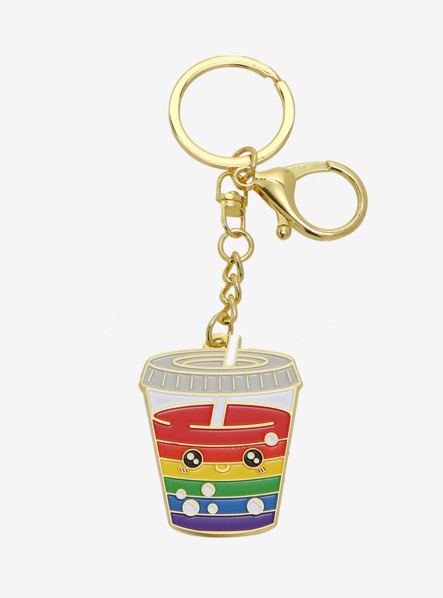 Rainbow Boba Enamel Keychain - BoxLunch Exclusive