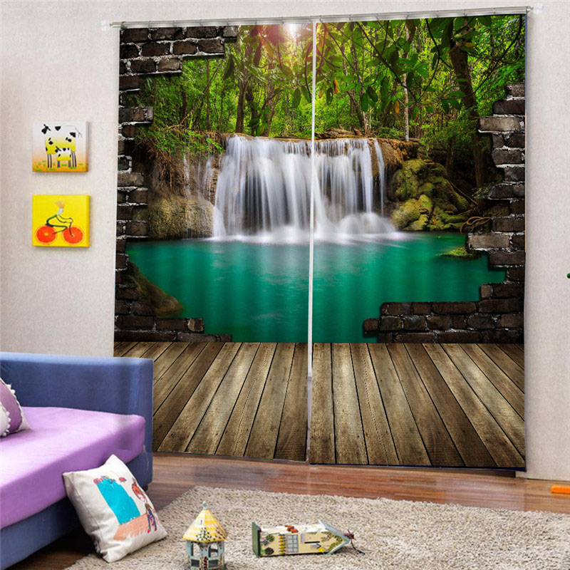 3D Natural Scenery Printed Decoration Blackout Curtains for Living Room Custom 2 Panels Drapes No Pilling No Fading No off-lining