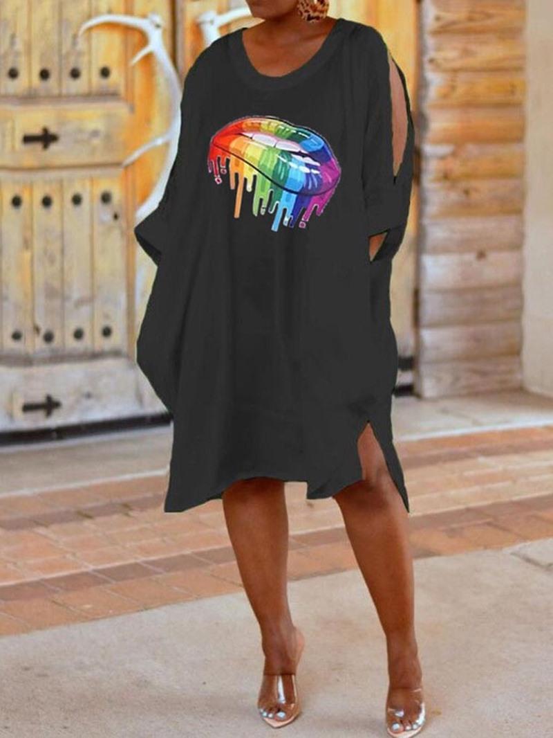 Ericdress Cold Shoulder Asymmetric Split High Waist Casual Dress