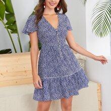 Ditsy Floral Print V-neck Ruffle Hem Dress