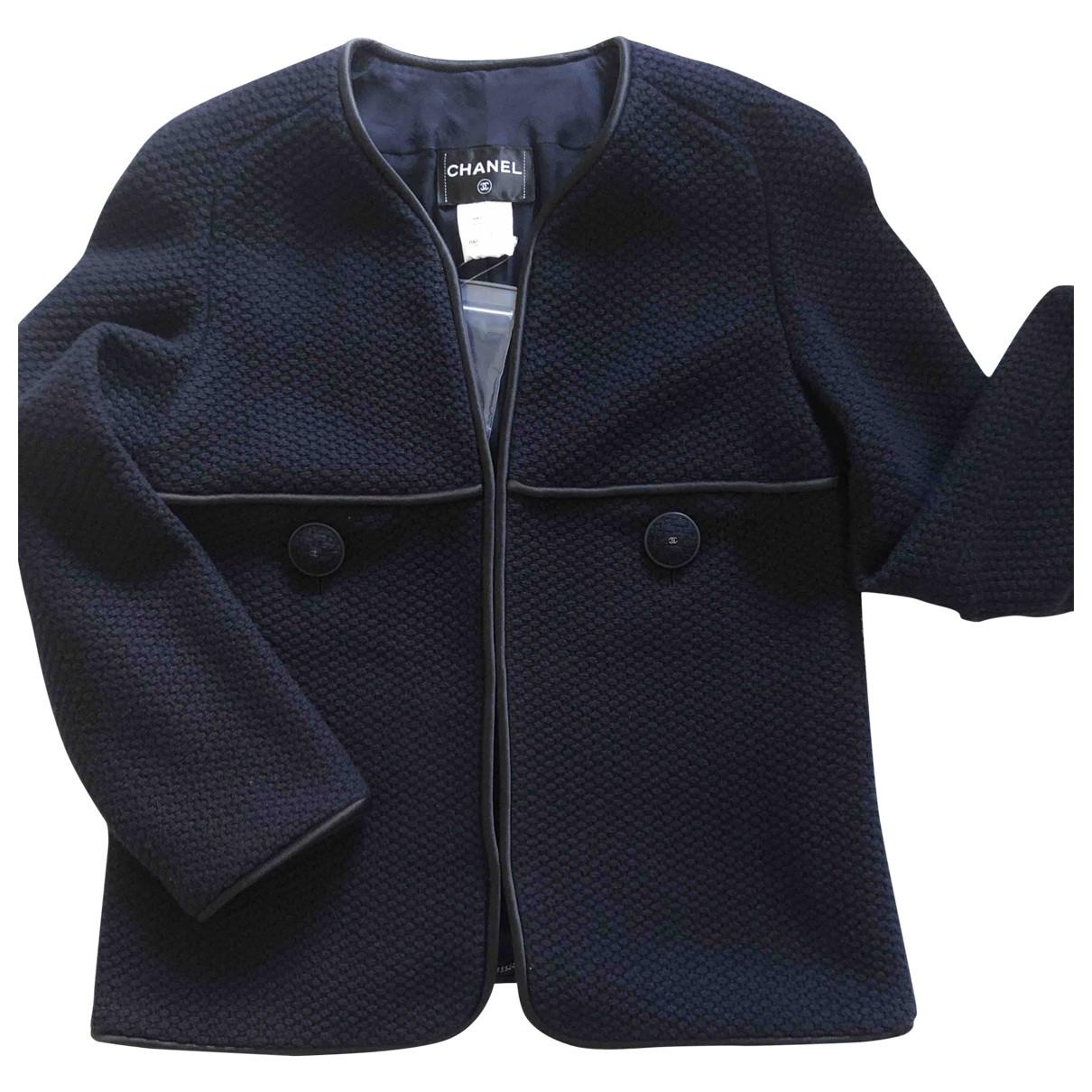 Chanel \N Jacke in  Marine Wolle