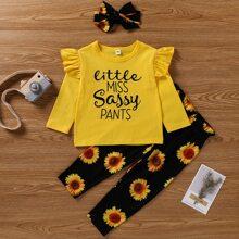 T-Shirt mit Buchstaben Grafik & Hose mit Sonnenblumen Muster, Papiertasche Taille & Stirnband