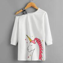 Toddler Girls Unicorn Print Asymmetrical Neck Sweatshirt Dress