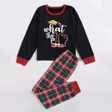 Conjunto de pijama con estampado de cuadros de navidad