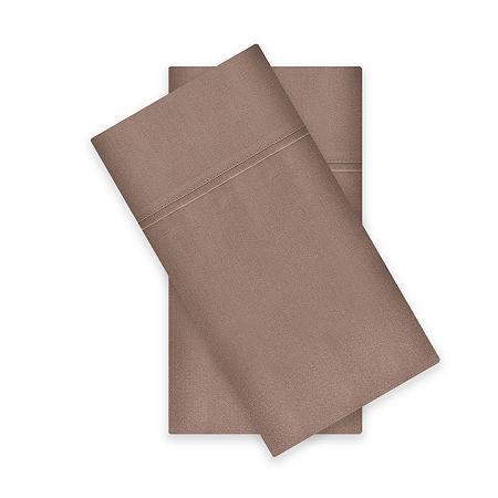 Liz Claiborne 400tc Liquid Cotton Sateen 2-Pack Pillowcases, One Size , Brown