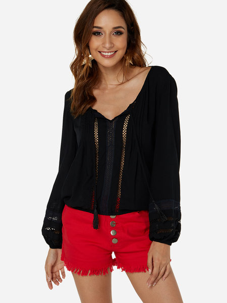 Yoins Black Hollow Design Long Sleeves V-neck Blouse