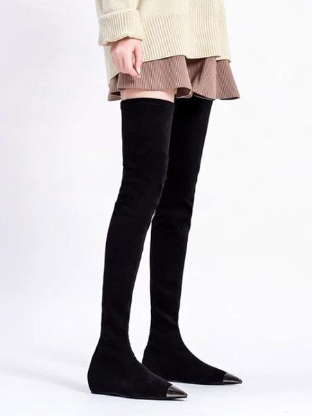Milanoo Sobre la rodilla botas de gamuza Negro punta estrecha plana de alta del muslo botas para las mujeres