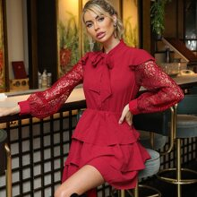 Tie Neck Lace Sleeve Layered Hem Dress