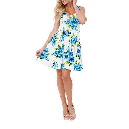 White Mark Crystal Sleeveless Floral Fit & Flare Dress, X-large , Blue