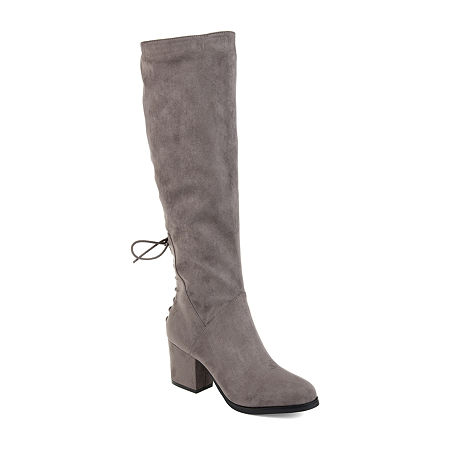Journee Collection Womens Leeda Wide Calf Riding Boots Block Heel Zip, 11 Medium, Gray