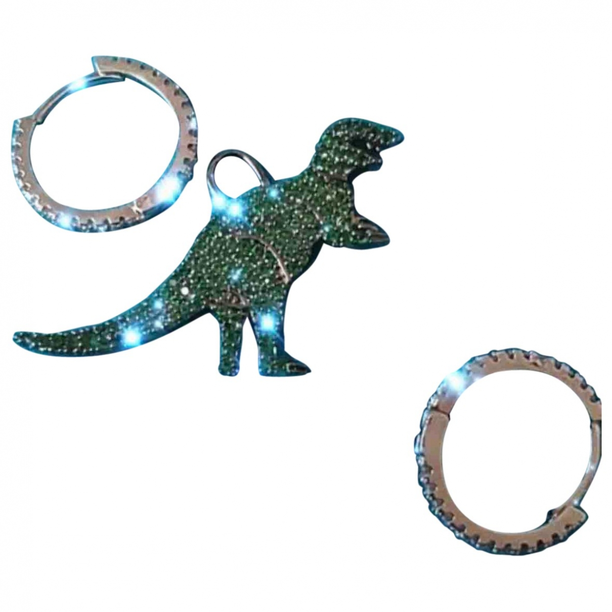Non Signe / Unsigned Motifs Animaliers OhrRing in  Gruen Metall