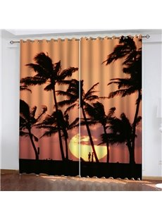 Thick Polyester Blackout and Decorative 3D Scenery Curtains with Coconut tree and Sunset Pattern