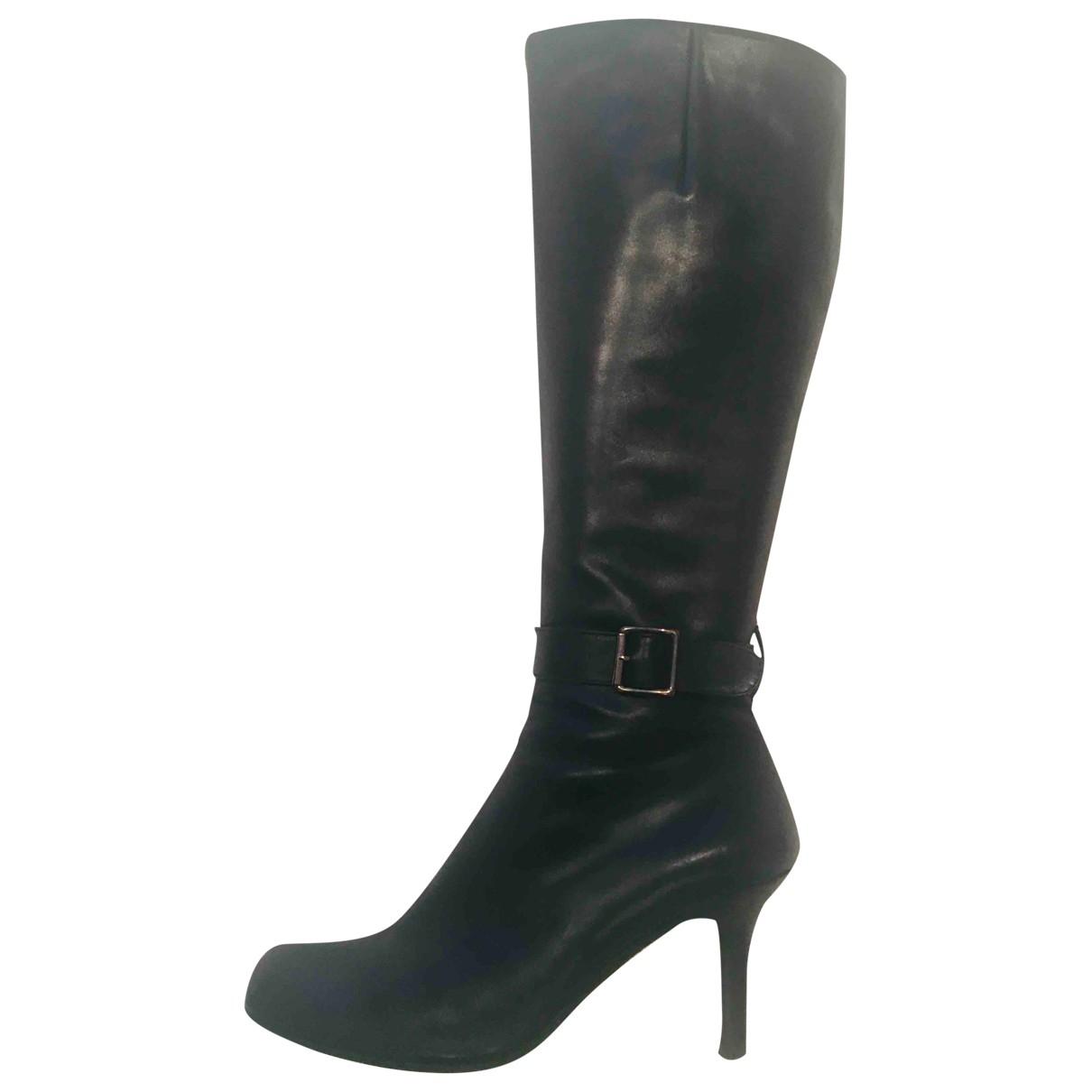 Dkny - Bottes   pour femme en cuir - noir