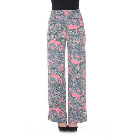 White Mark Womens Mid Rise Wide Leg Palazzo Pant, X-large , Pink