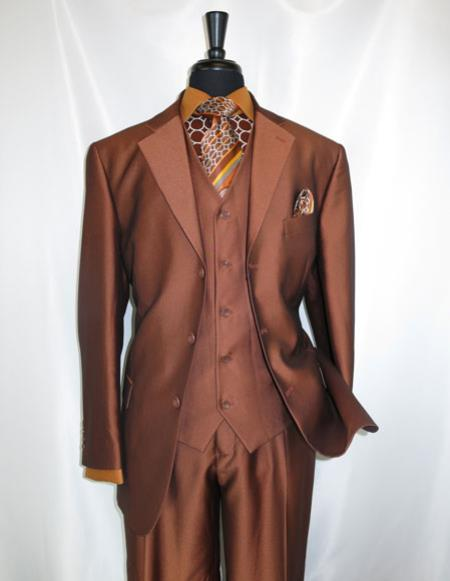 mens high fashion Single Breasted Sharkskin rust vested suit