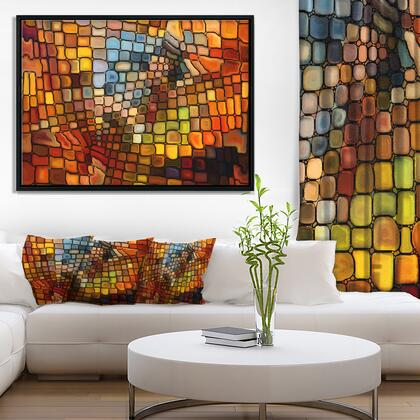 FL6043-42-32-FLB Dreaming Of Stained Glass - Abstract Framed Canvas Artwork -