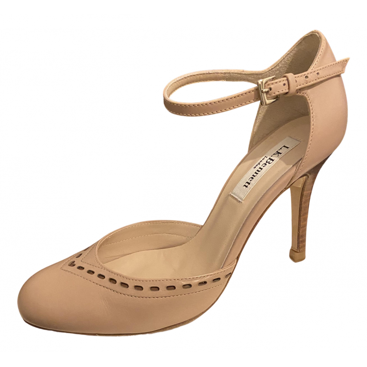 Lk Bennett N Beige Leather Heels for Women 37 EU