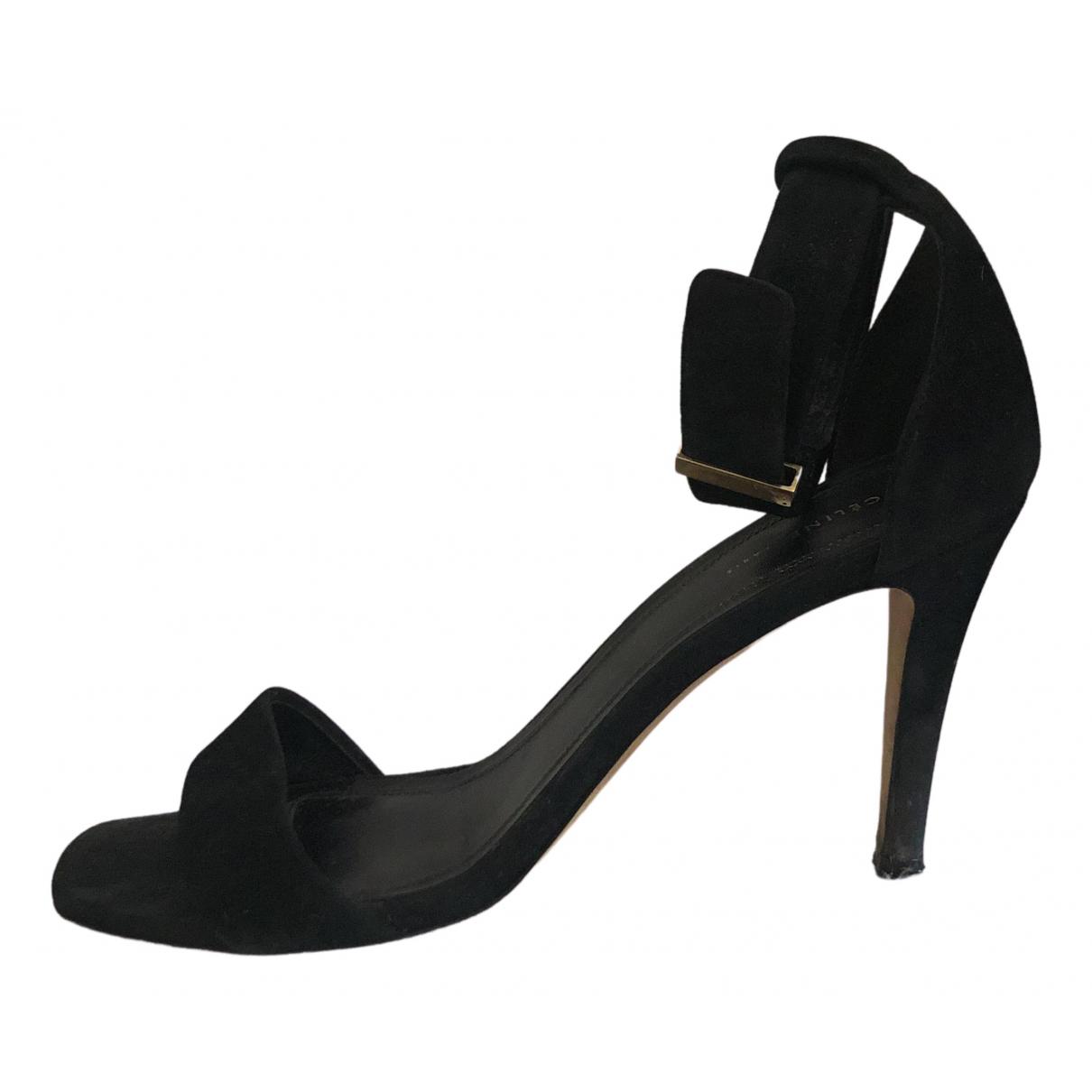 Celine - Sandales   pour femme en suede - noir
