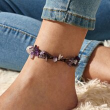 Crushed Stone Weave Anklet 1pc