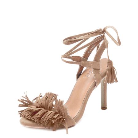 Yoins Apricot Tassel Embellished Lace-up High Stiletto Heels