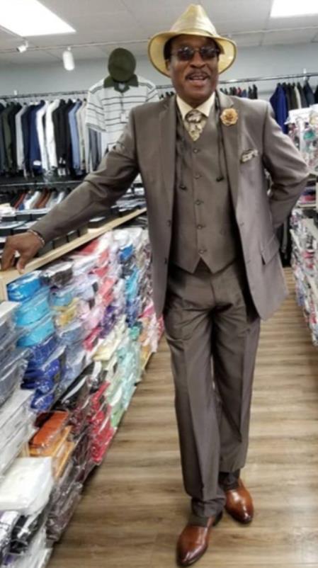 Mens Single Breasted Peak Lapel Brown Suit