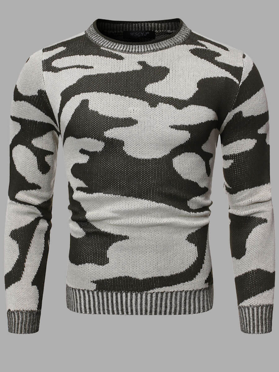 LW Lovely Casual O Neck Camo Print Grey Sweater