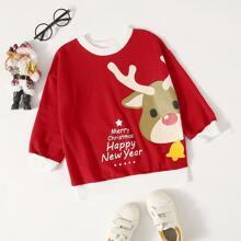 Toddler Boys Christmas And Slogan Graphic Sweatshirt