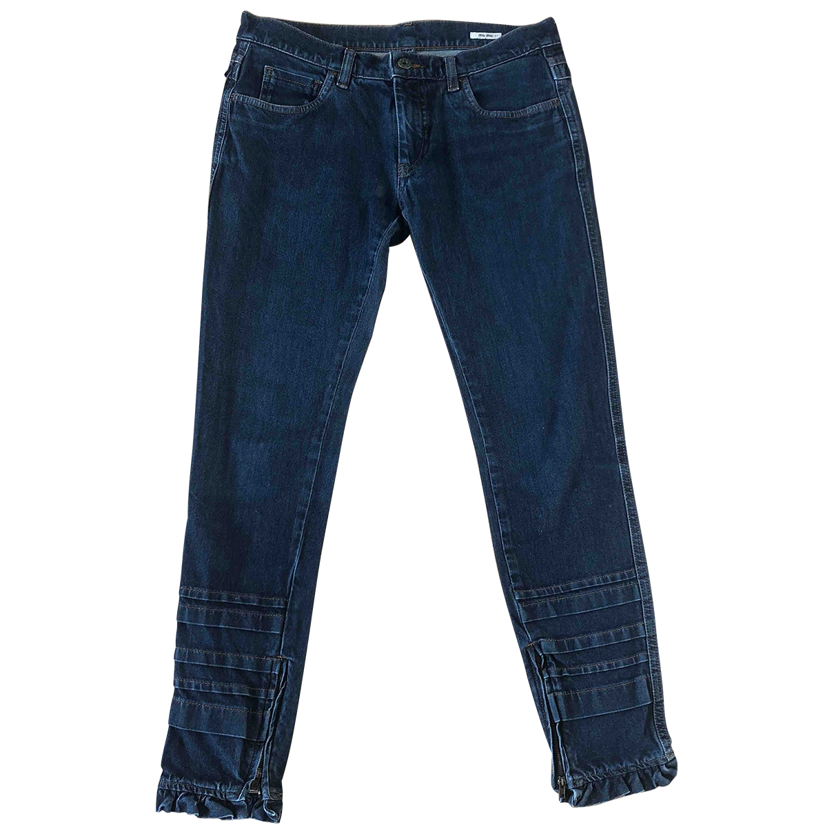 Miu Miu \N Blue Denim - Jeans Trousers for Women 36 FR