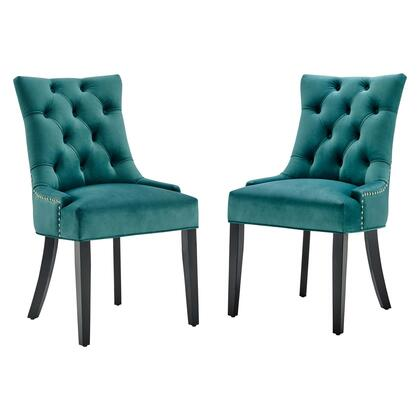 Regent Collection EEI-3780-TEA Set of 2 Dining Side Chairs with Nailhead Trim  Spring Coil System  Dense Foam Padding and Stain-Resistant Velvet