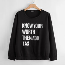 Plus Slogan Graphic Sweatshirt