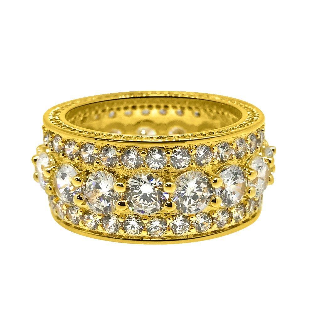 .925 Silver Bling Bling Royal 360 Eternity Band Gold CZ Ring