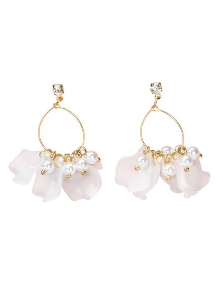 Milanoo Earrings Blond Ruffles Zinc Alloy Pierced Women Jewelry