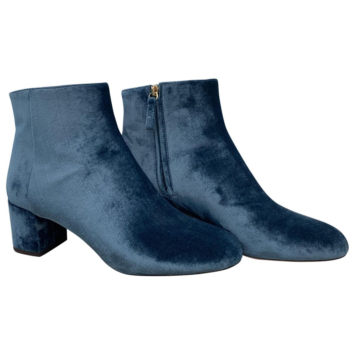 Aquazzura - Boots   pour femme en velours - bleu