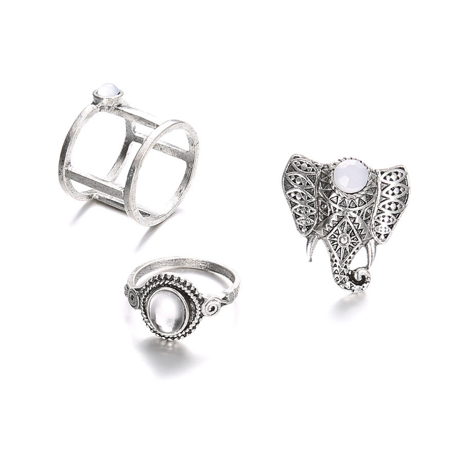 Vintage Finger Ring Set Gemstone Cute Elephant Silver Knuckle Rings Ethnis Jewelry for Women
