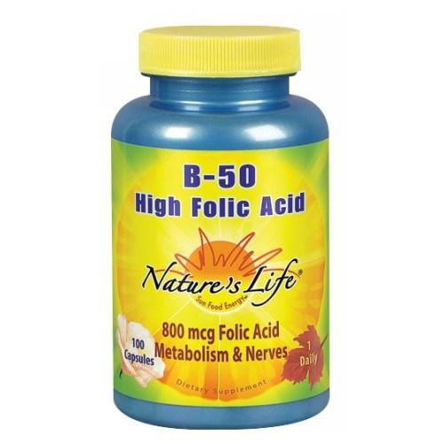 B-Complex High Folic Acid 100 caps by Nature's Life