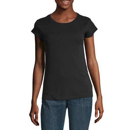 Liz Claiborne Short Sleeve Crew Neck Tee - Tall, Xx-large Tall , Black