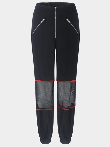 Yoins Zip Design Mesh Stitching Design Pants in Black