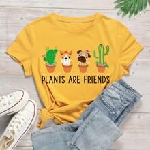 Plants & Slogan Graphic Tee
