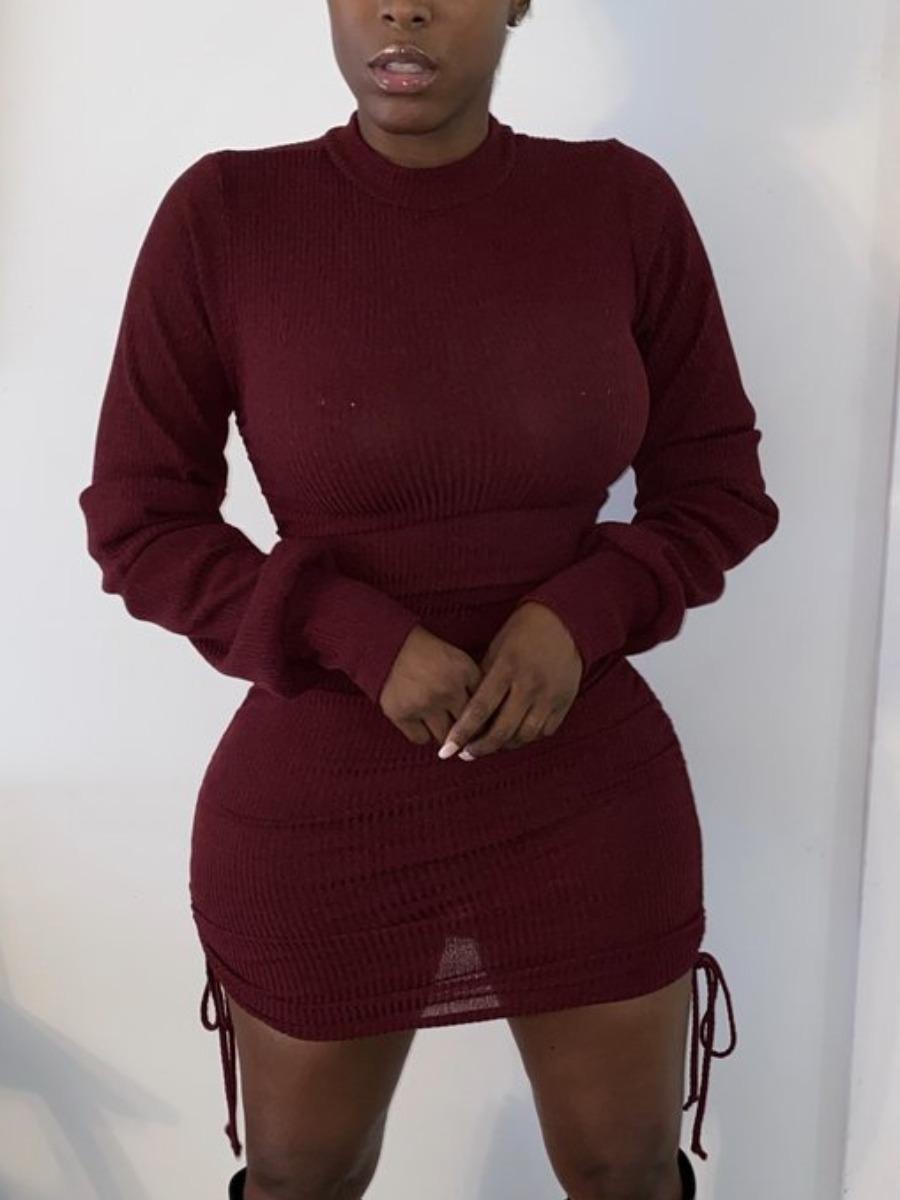 LW Lovely Sexy O Neck Fold Design Wine Red Mini Dress