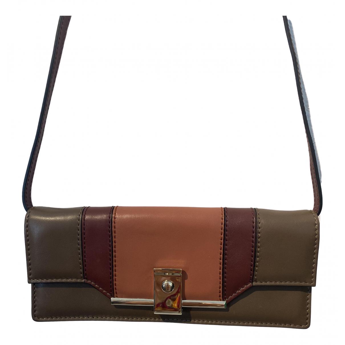 Valentino Garavani - Pochette   pour femme en cuir - marron