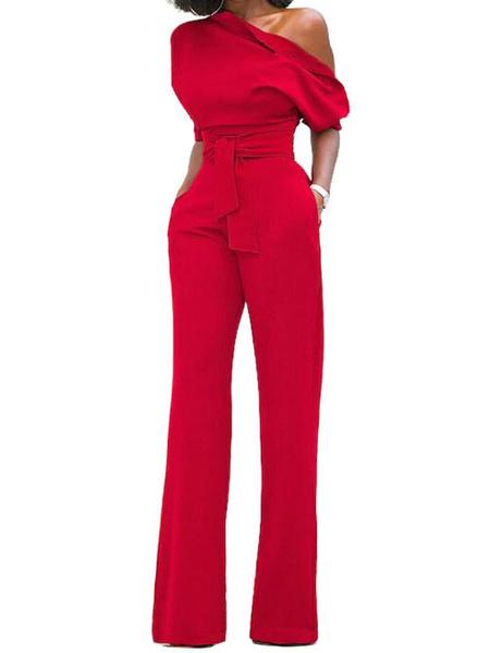 Milanoo Mono largo para mujeres 2020 negro con un hombro manga corta pierna asimetrica recta