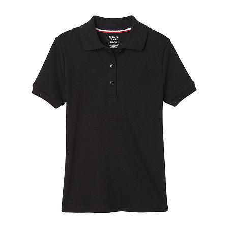 French Toast Girls Plus Short Sleeve Stretch Polo Shirt, 10-12 Plus , Black