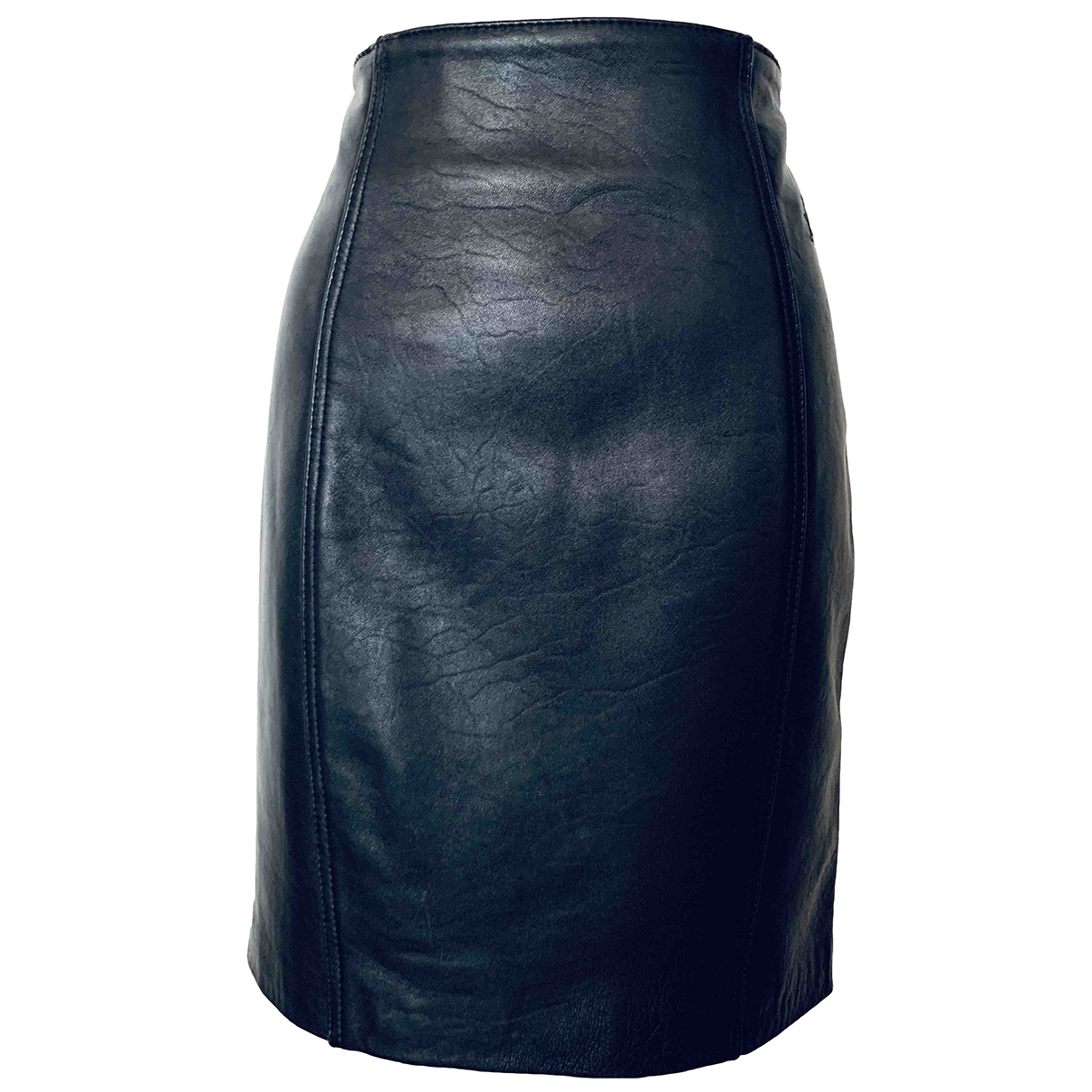 Non Signé / Unsigned \N Black Leather skirt for Women 46 IT