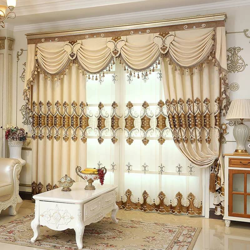 Thick Embroidery European Drapes Grommet 2 Panels Sheer for Living Room